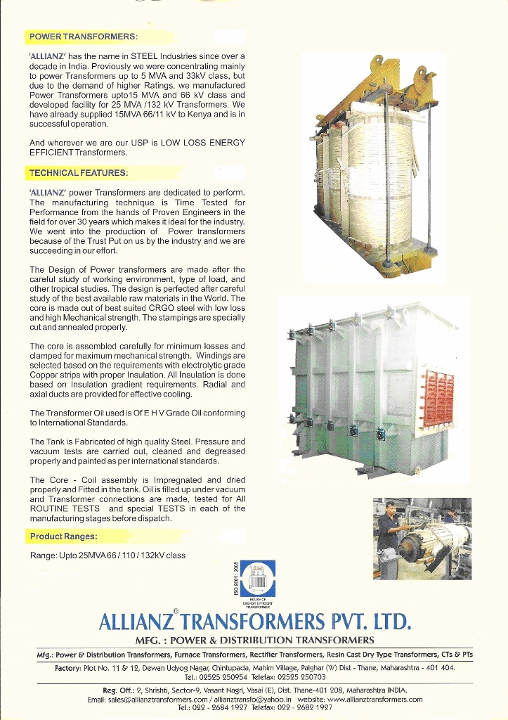 power transformer product details